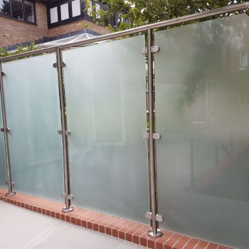 Frosted look, framed glass railings